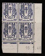 FRANCE N°673 50C VIOLET TYPE CHAINES COIN DATE DU 16.1.1946 NEUF SANS CHARNIERE - Coins Datés