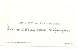 Visitekaartje - Carte Visite - Mr & Mme A. Van Der Beke - Bruges Brugge - Visiting Cards