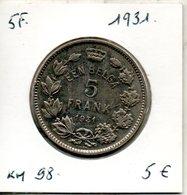 Belgique. 5 Francs 1931. Légende Flamande - 1909-1934: Albert I