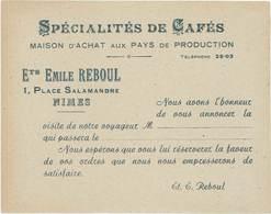 Carte Commerciale : Ets Emile Reboul, Nimes – Spécialités De Cafés - Pubblicitari