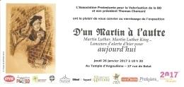 """BD - Invitation Vernissage Exposition """"D'un Martin à L'autre..."""" -Temple Angoulême 26 Janvier 2017 -ill. Fawzi -[Luther] - Livres, BD, Revues"""
