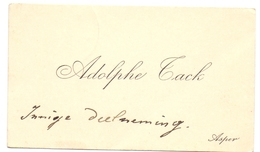 Visitekaartje - Carte Visite - Adolf Tack - Asper - Visiting Cards