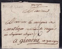 France, Aisne - Delafere Sur LAC De 1763 - Lenain N° 3 -indice 12 - Marcophilie (Lettres)