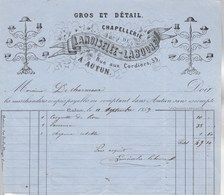 Facture Illustrée 11/9/1859 LANOISELEE LABOURE Chapellerie AUTUN Saône Et Loire - 1800 – 1899