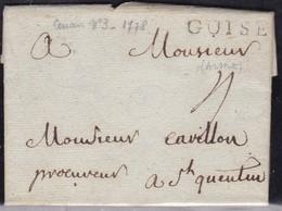 France, Aisne -Guise Sur LAC De 1768 - Lenain N° 3, Indice 18 - Marcophilie (Lettres)