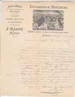 Facture Illustrée 20/1/1891 RAGOT éclairage Minéral Huile  AUTUN Saône Et Loire - 1800 – 1899