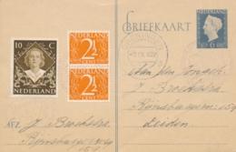Nederland - 1948 - 6 Cent Wilhelmina, Briefkaart G299 Met Bijfrankering Van Tentoonstelling Groningen Naar Leiden - Postwaardestukken