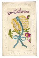 CP :  Brodée : Vive Catherine - Bonnet Jaune, Noeud Bleu - Embroidered