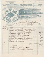 SUPERBE Facture Illustrée 9/9/1903 LEMAITRE Carrosserie Sellerie Vélocipèdes & Automobiles AUTUN Saône Et Loire - France