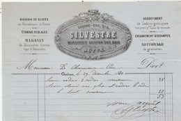 Facture Illustrée 29/12/1870 SILVESTRE Miroitier Doreur Sur Bois Glaces AUTUN Saône Et Loire - 1800 – 1899