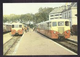 CPSM 36 - CHEMIN DE FER Voie Métrique - LE BLANC ARGENT - Autorails Verney Se Croisant Gare De Valençay 1974 - France