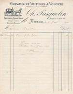 Facture Illustrée 1/6/1911 PASQUELIN Chevaux Voitures équipage Pour Mariage Baptême  AUTUN Saône Et Loire - France