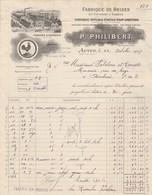 Facture Illustrée Coq 22/10/1927 PHILIBERT Brides Et Coussins à Sabots  AUTUN Saône Et Loire - France