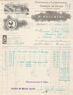 Facture Illustrée Coq 13/10/1938 PHILIBERT Brides Et Coussins à Sabots  AUTUN Saône Et Loire - France