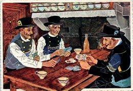 Illustrateur HOMUALK -  La Partie De Cartes - Costumes D'Edern Quemeneven, Ste Anne La Palud - Cartes à Jouer
