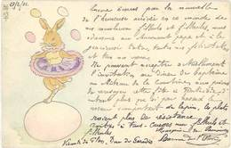 Cpa Fantaisie : Lapin Jonglant Avec Des œufs ( Pâques, Gaufrée ), Postée De Marseille Vers Ollioules - Fantaisies