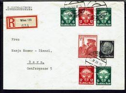 ALLEMAGNE - 1939 - Affranchissement à 55 Pf. Sur Enveloppe En Recommandé De Wien Pour Bern (Suisse) B/TB - - Lettres & Documents