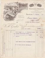 Facture Illustrée 4/10/1911 GOULOT Droguerie Graines Papier Peint  Glaces AUTUN Saône Et Loire - France