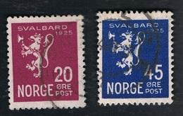1925 19. Aug. Mi 118 - 119 Sn 113 - 114 Yt NO 110 - 111 Sg NO 185 - 186 AFA  116 - 117 Gestempelt O - Norwegen