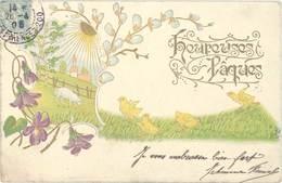 Cpa Fantaisie : Heureuses Pâques – Poussins, Mouton, Soleil ( Gaufrée ) - Fantaisies
