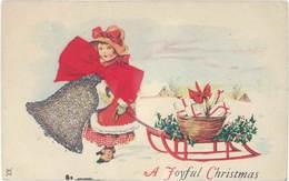 Cpa Fantaisie : A Joyful Christmas ( Noël, Enfant, Luge, Cloche Argentée, Ajoutis, Noeud En Tissu Rouge ) - Fantaisies