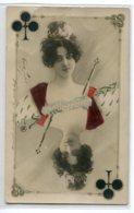 JEU DE CARTE - La Dame Reine De Trefle  SAHARE  Art Nouveau 1904 Timb     /ES 2014 - Aviation