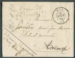 Lettre En Franchise De HUY Le 23 Août 1873 Vers AMAY (biffé) Et Renvoyé Vers Bruxelles - Verso : Cachets De AMAY 23/08 - - Belgique