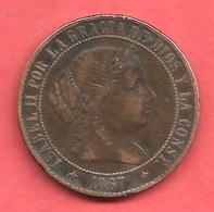 2 1/2 Centimos , ESPAGNE , Copper ( Cuivre ) , 1867 OM , N° KM # 634 , N° Y38 - Monnaies Provinciales