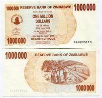 Zimbabwe 1 Million Dollars 2008 P53 Bearer Check UNC Inflation Currency AA Note - Zimbabwe
