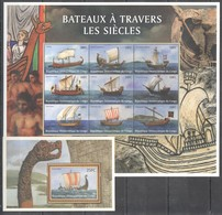 D461 DU CONGO SHIPS BATEAUX A TRAVERS LES SIECLES 1KB+1BL MNH - Boten