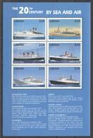 D462 LIBERIA TRANSPORTATION SHIPS THE 20TH CENTURY BY SEA & AIR 1KB MNH - Boten