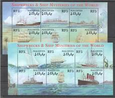 D474 MALDIVES SHIPWRECKS & SHIP MYSTERIES OF THE WORLD 2KB MNH - Boten