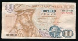 BILJET DUIZEND FRANK - NATIONALE RAMP VAN BELGIE - STEM PVV 1963  2 SCANS - [ 8] Vals En Specimen