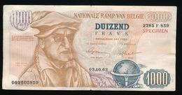 BILJET DUIZEND FRANK - NATIONALE RAMP VAN BELGIE - STEM PVV 1963  2 SCANS - Gent
