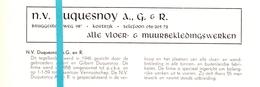 Pub Reclame Org. Knipsel Tijdschrift - Vloerwerken NV Duquesnoy - Kortrijk Ca 1960 - Publicités