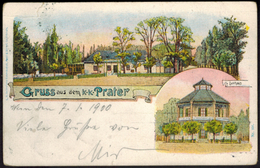 Ansichtskarte Österreich Wien Litho Gruß Vom Prater Gelaufen Schöne MIF 3.1.1900 - Autriche