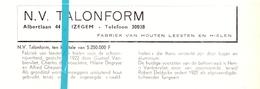 Pub Reclame Org. Knipsel Tijdschrift - Houten Leesten NV Talonform - Izegem -  Ca 1960 - Publicités