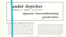 Pub Reclame Org. Knipsel Tijdschrift - Bouwonderneming André Depicker - Zarren -  Ca 1960 - Publicités