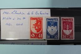 1943     -   699  à  701*       ANNIVERSAIRE  LIBERATION  DE  LA  BUCOVINE   COTE   :  7,50€ - 1918-1948 Ferdinand, Charles II & Michael