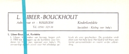 Pub Reclame Org. Knipsel Tijdschrift - Kinderconfectie Libeer - Bouckhout - Rollegem -  Ca 1960 - Publicités