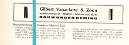 Pub Reclame Org. Knipsel Tijdschrift - Bouwonderneming Gilbert Vanackere & Zoon - Rekkem -  Ca 1960 - Publicités