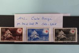 1943     -   706  à  708*       CROIX  ROUGE   COTE   :  3,60€ - 1918-1948 Ferdinand, Charles II & Michael