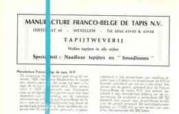 Pub Reclame Org. Knipsel Tijdschrift - Manufacture Franco Belge De Tapis - Tapijtweverij Wevelgem -  Ca 1960 - Publicités