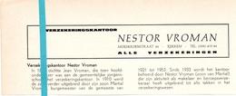 Pub Reclame Org. Knipsel Tijdschrift - Verzekeringen Nestor Vroman - Rekkem -  Ca 1960 - Publicités