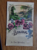 Un Bonjour De Les Waleffes -> écrit (damaged, Crack In Kaart) - Faimes