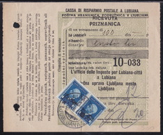 Ljubljana, German Occupation, Payment Receipt, Franked With Fiscal Stamps, 1944 - Occupazione 1938 – 45