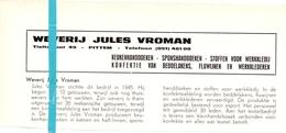Pub Reclame Org. Knipsel Tijdschrift - Weverij Jules Vroman - Pittem -  Ca 1960 - Publicités