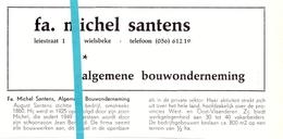 Pub Reclame Org. Knipsel Tijdschrift - Bouwonderneming Fa. Michel Santens - Wielsbeke -  Ca 1960 - Publicités