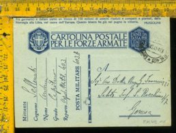 Regno WW2 Seconda Guerra Franchigia Posta Militare 403 Ospedale Per Genova - Storia Postale