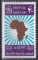 Ägypten Egypt 1972 Afrikatag Africa Day Landkarten Karten Maps Strahlenkranz, Mi. 1093 ** - Ungebraucht
